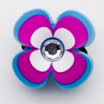Brilliant Crystal Pink Blue Hibiscus Charm