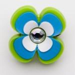 Brilliant Crystal Blue Green Hibiscus Flower Charm
